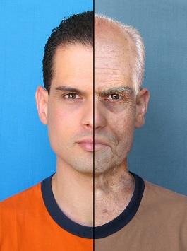 Half young man half old man